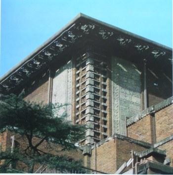 バンケットホール南東部上部外壁 明石信道著「旧帝国ホテルの実証的研究」より 撮影 村井修